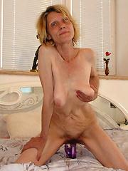 Skinny old grandma takes a hard dicking!