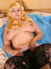 Big titted housewife playing with her toys