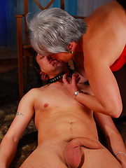 Grey-haired mature plumper getting crammed after disciplining her boy-puppy