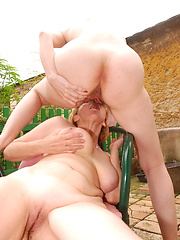 Old-and-young lesbians coupling in the garden