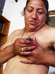 Amateur latina granny Olivia pust huge dildo into own vagina