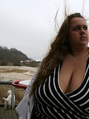 German plump blonde exposed giant tits outdoor
