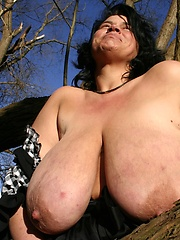 German housewife exposed large boobs outdoor