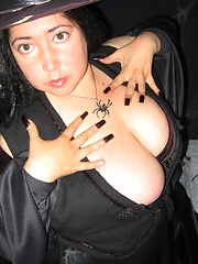 Black magic woman with magical huge boobs