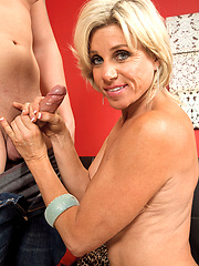 Hottest blonde milf Payton Hall sucking hard tool