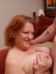 Chubby old woman with big tits gets fucked