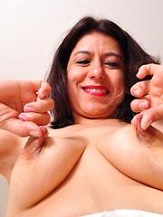 Hairy Latin housewife getting very naughty