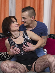 This naughty mature lady loves playing with her younger lover