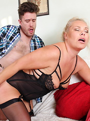 Horny British housewife playing with her strapping lover
