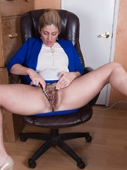 Alicia Silver masturbates with her dildo at work