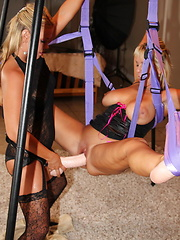 Roxy fucks Alysha in her sex swing