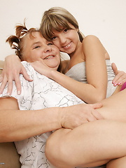 Two horny old and young lesbians play with eachother