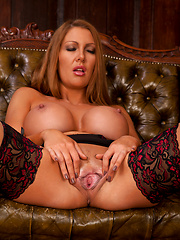 Voluptuous housewife shows off her trimmed pussy and nice tits