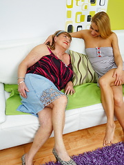 Hot and steamy old and young lesbians make out