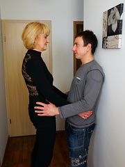 Horny mature lady playing with her younger lover