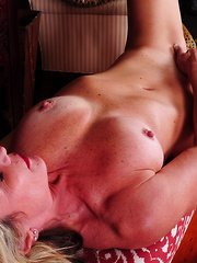 Hot blonde American housewife playing with herself
