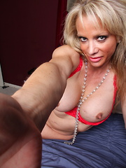 Horny American housewife playing with her toy