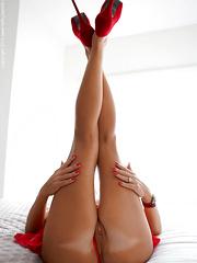 Wifey In Red Nightie And Heels