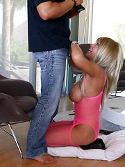 Blonde MILF Licks Cum After Fucking