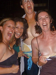 Funny and horny young girls flashing in the night