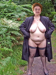 Chubby mature flashers in a country side