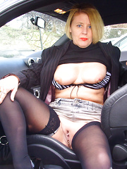 Chubby and mature car sluts ready for naked drivin