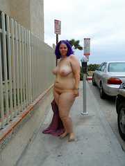 Older plumpers walking nude on the town streets