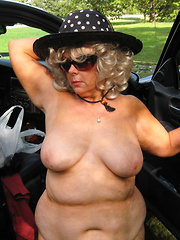 Bold mature housewives flashing on the cars